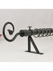 "QYR36M20 7/8"" Black Wrought Iron Single Curtain Rod Set with Tail Finial"