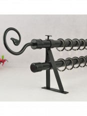 "QYR36M21 7/8"" Black Wrought Iron Double Curtain Rod Set with Tail Finial"