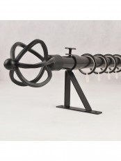"""QYR36M22 7/8"""" Black Wrought Iron Single Curtain Rod Set with Spiral Globe Finial"""