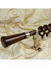 "QYT1420 1"" Aluminum Alloy Single Curtain Rod Set (Color: Brown)"