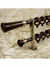"QYT1421 1"" Aluminum Alloy Double Curtain Rod Set (Color: Brown)"