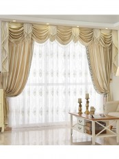 New arrival Denali Beige and Yellow Waterfall and Swag Valance and Sheers Custom Made Chenille Velvet Curtains Pair