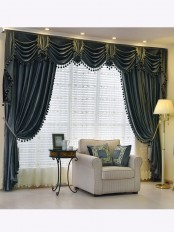 New arrival Denali Grey and Black Waterfall and Swag Valance and Sheers Custom Made Chenille Velvet Curtains Pair