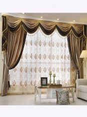 New arrival Denali Brown Plain Waterfall and Swag Valance and Sheers Custom Made Chenille Velvet Curtains