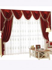 New arrival Denali Pink Red and Purple Waterfall and Swag Valance and Sheers Custom Made Chenille Velvet Curtains