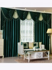 New arrival Denali Green and Blue Waterfall and Swag Valance and Sheers Custom Made Chenille Velvet Curtains