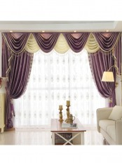 New arrival Denali Purple and Red Waterfall and Swag Valance and Sheers Custom Made Chenille Velvet Curtains