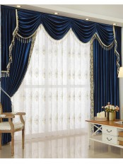 New arrival Denali Blue and Green Waterfall and Swag Valance and Sheers Custom Made Chenille Velvet Curtains