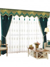 New arrival Denali Blue and Green Plain Waterfall and Swag Valance and Sheers Custom Made Chenille Velvet Curtains Pair For Living Room
