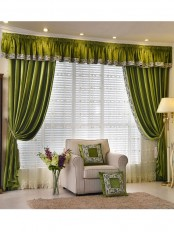 New arrival Denali Blue and Green Plain Pencil Pleated Valance and Sheers Custom Made Chenille Velvet Curtains Pair