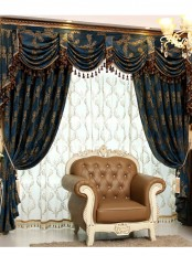 On sales!!! Baltic Jacquard Blue Coffee Brown color Floral Waterfall and Swag Valance and Sheers and Chenille Velvet Curtains Pair For living room