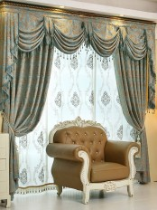 On sales!!! Baltic Jacquard Blue Coffee color Floral Waterfall and Swag Luxury Valance and Sheers and Chenille Velvet Living room Curtains Pair