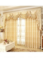 Jacquard Yellow Blue Coffee color Floral Waterfall and Swag Luxury Valance and Sheers Living room Curtains Pair(Color: Yellow)