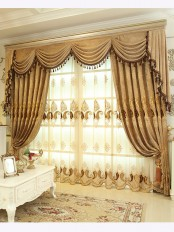 Baltic Embroidered Brown Beige color Floral Waterfall and Swag Valance and Sheers and Chenille Velvet Curtains Pair(Color: Brown)