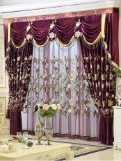 New arrival!!! Baltic Embroidered Purple Floral Leaves Waterfall and Swag Valance and Sheers and Velvet Curtains Pair