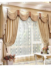 On sales!!! Baltic Jacquard Beige Floral Waterfall and Swag Valance and Sheers and Chenille Curtains Pair