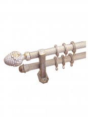 "QYR2821 1-1/4"" Diameter Rome Antique Color Custom Double Curtain Rods (Color: White Brush Gold)"