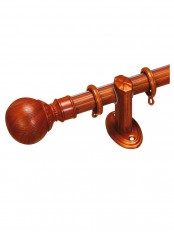 "QYR3020 1-1/8"" Diameter Wood Grain Custom Single Curtain Rods Ball Finial"