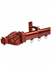 "QYR3220 1-1/8"" Diameter x 1-1/4"" Diameter Regal Custom Track Curtain Rods (Color: Red Wood)"