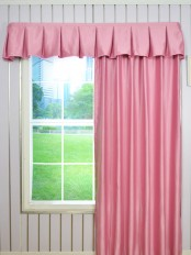 Solid Color Box Pleated Valance and Versatile Pleat Curtains