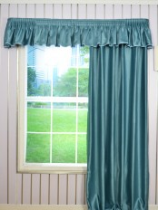 Swan Solid Pencil Pleat Valance and Versatile Pleat Curtains