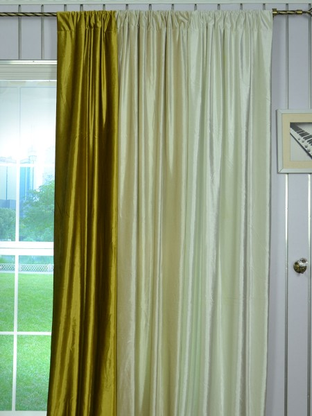 63 Inch 96 Inch Whitney Beige and Yellow Solid Blackout Grommet Velvet Curtains