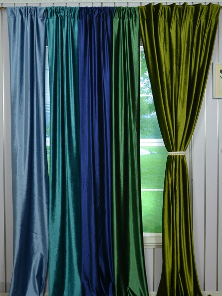 63 Inch 96 Inch Whitney Green and Blue Solid Blackout Grommet Velvet Curtains