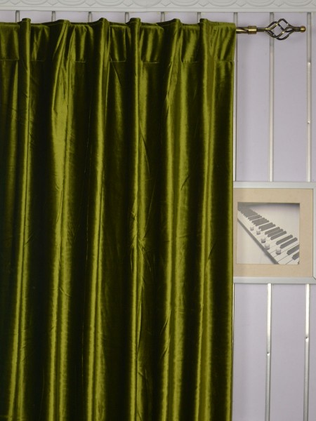 63 Inch 96 Inch Whitney Green and Blue Solid Blackout Grommet Velvet Curtains Back Tab Heading