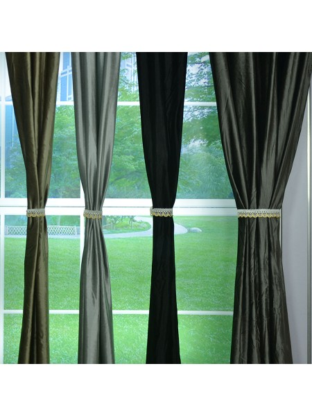 Green Curtains black and green curtains : 63 Inch 96 Inch Whitney Gray and Black Solid Blackout Grommet ...