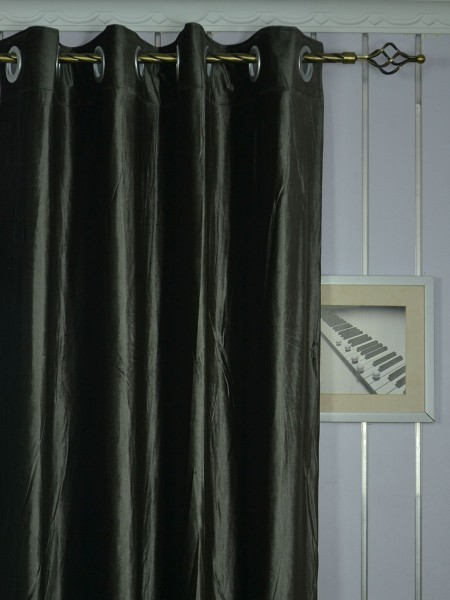 Curtains Ideas black velour curtains : 63 Inch 96 Inch Whitney Gray and Black Solid Blackout Grommet ...