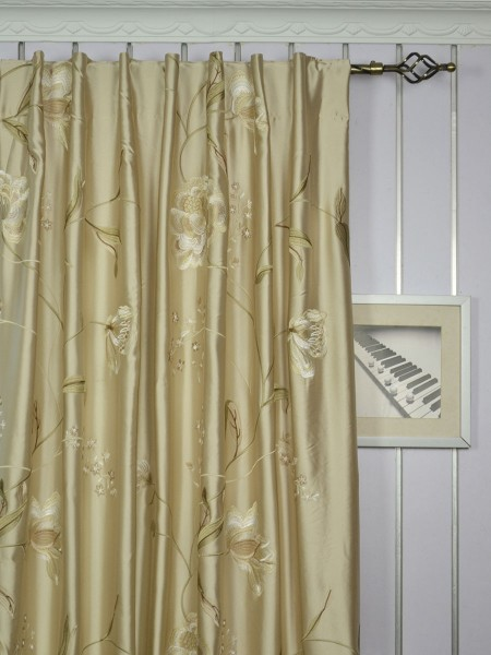 Morgan Deep Champagne Embroidered Floral Faux Silk Custom Made Curtains Online (Heading: Back Tab)