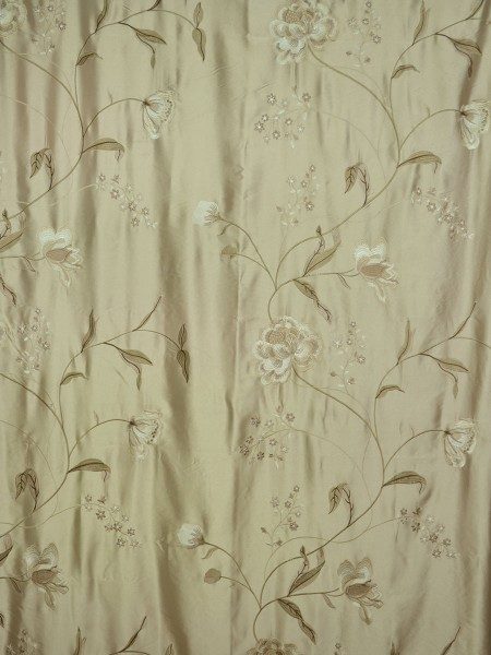 Morgan Deep Champagne Embroidered Floral Faux Silk Custom Made Curtains Online (Color: Deep Champagne)