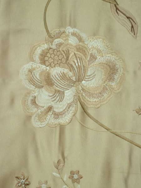 Morgan Deep Champagne Embroidered Floral Faux Silk Custom Made Curtains Online Fabirc Details