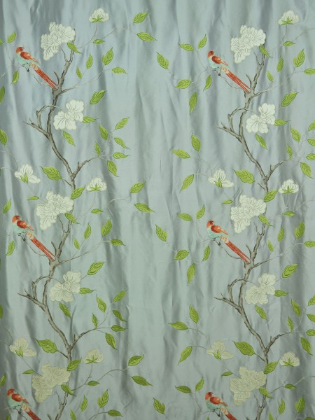 Morgan Gray Embroidered Bird Branch Grommet Faux Silk Curtains Ready Made Fabric