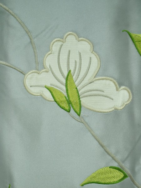 Morgan Gray Embroidered Bird Branch Grommet Faux Silk Curtains Ready Made Fabric Details