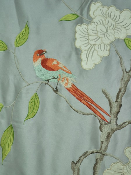 120 Inch Extra Wide Morgan Gray Embroidered Bird Branch