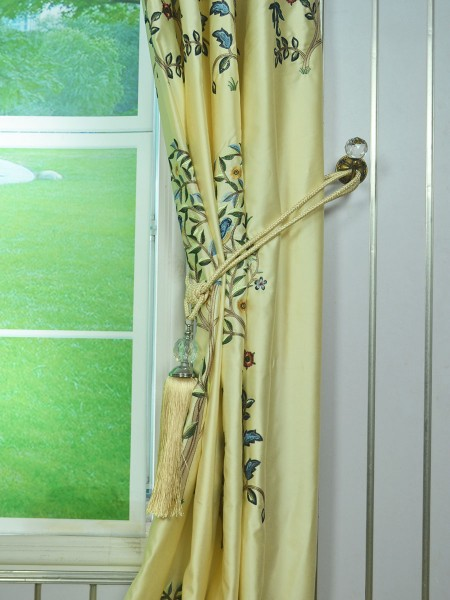 Morgan Beige & Blue Embroidered Bird Tree Grommet Faux Silk Curtains Ready Made Tassel Tiebacks