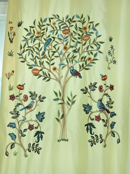 Morgan Beige & Blue Embroidered Bird Tree Grommet Faux Silk Curtains Ready Made Fabric