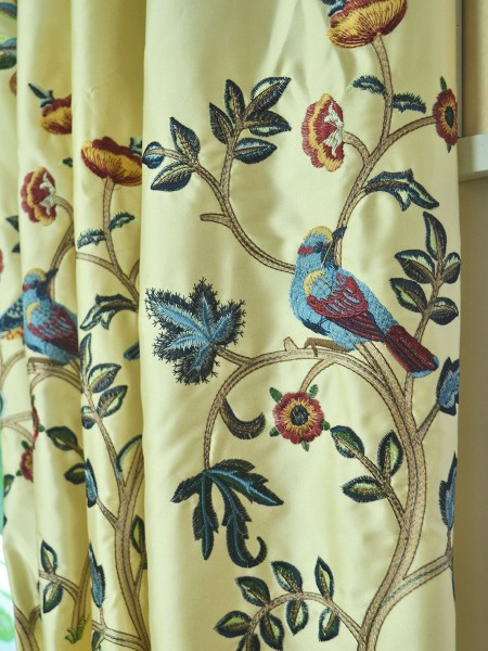 Morgan Beige & Blue Embroidered Bird Tree Grommet Faux Silk Curtains Ready Made Fabric Details