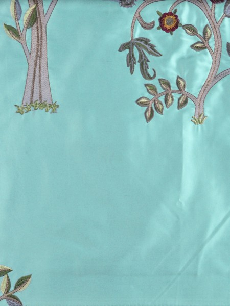 Morgan Beige & Blue Embroidered Bird Tree Grommet Faux Silk Curtains Ready Made (Color: Pale Turquoise)