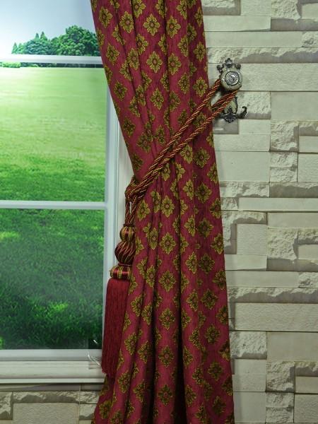 Angel Jacquard Victorian Damask Grommet Chenille Curtain Tassel Tieback