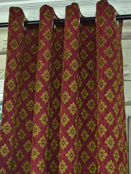 Angel Jacquard Victorian Damask Grommet Chenille Curtain Fabric Details