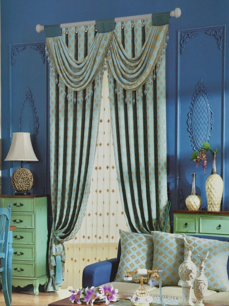 Angel Jacquard Victorian Damask Pencil Pleat Chenille Curtain (Color: Medium Sky Blue)