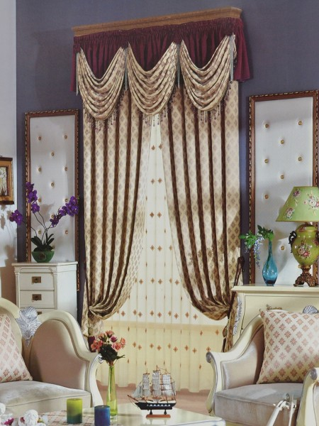 Angel Jacquard Victorian Damask Pencil Pleat Chenille Curtain (Color: Beige)