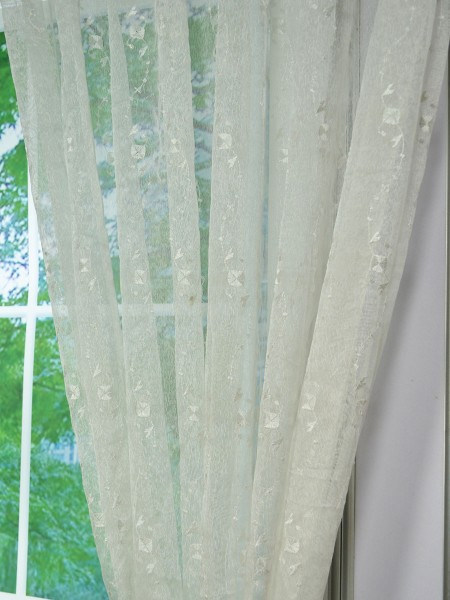 Elbert Daisy Chain Pattern Embroidered Grommet White Sheer