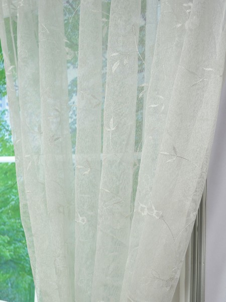Elbert Branch Leaves Pattern Embroidered Grommet White