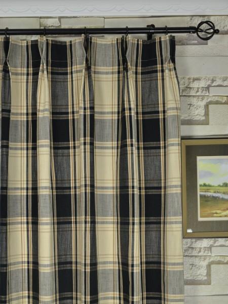 Big Plaid Blackout Double Pinch Pleat Extra Long Curtains 108 ...