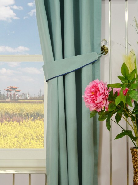 Moonbay Plain Grommet Cotton Curtains Decorative Tiebacks