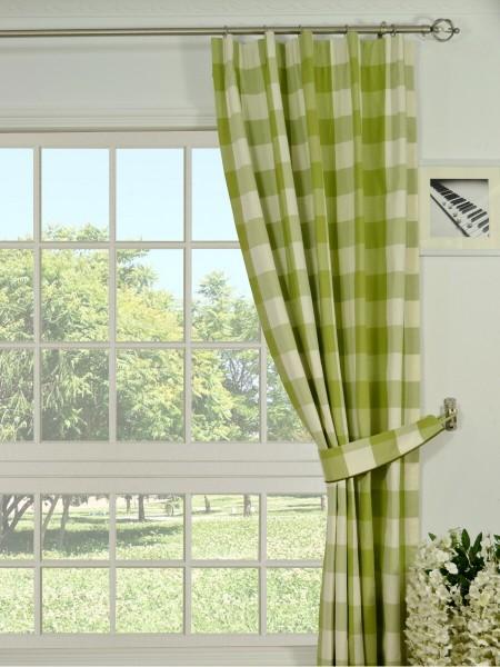Moonbay Checks Versatile Pleat Cotton Curtains