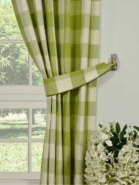 Moonbay Checks Versatile Pleat Cotton Curtains Decorative Tiebacks